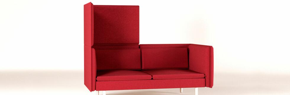 Denne sofaen kan brettes opp til å bli dobbelt så stor. Setter du en lik sofa på andre siden, har du et intimt møterom. Foto: Liv Øvland