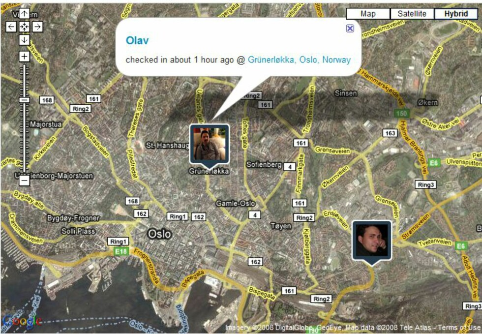 Med Brightkite vet vennene dine hvor du er. Foto: Brightkite.com