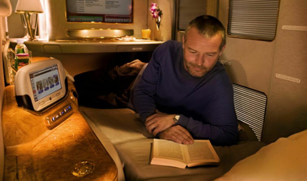 I din egen lille suite kan du slappe av. Foto: Emirates
