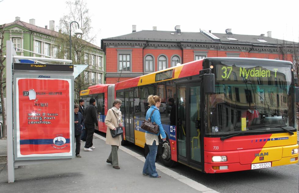 POPULÆR REISEFORM: Hver nordmann brukte buss på 85 reiser i snitt i 2010. Foto: Ruter As