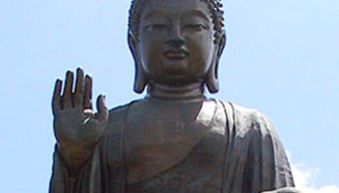 Tian Tan Buddah på Lantau i Hong Kong er verdens største utenomdørs buddahstatue. Foto: Wikipedia
