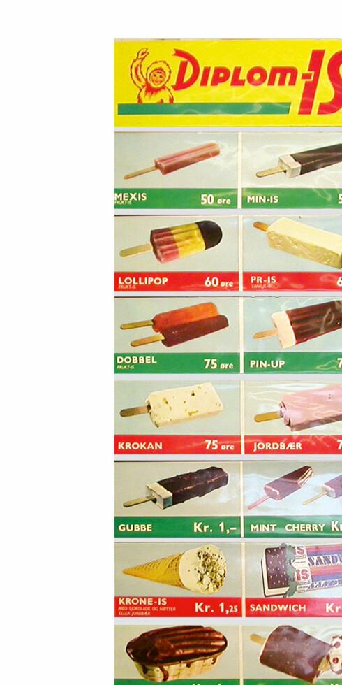 Iskart fra 1972, fra Diplom Is. Klassikerne Lollipop, Båtis, Sol-is, Sandwich og Pin-up har holdt koken, men har en friskere look i disse dager.            Foto: Diplom Is