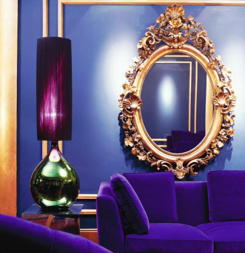 Detalj fra den blå salongen, der gjestene kan slappe av med avisen eller en drink. Foto: The g hotel