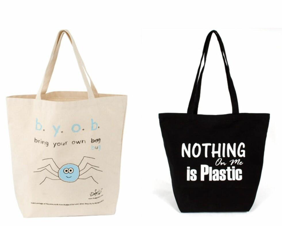 BYOB - bring your own bag... med meldinger. Pris: 259 og 239 på rettinett.no. Foto: BYOB