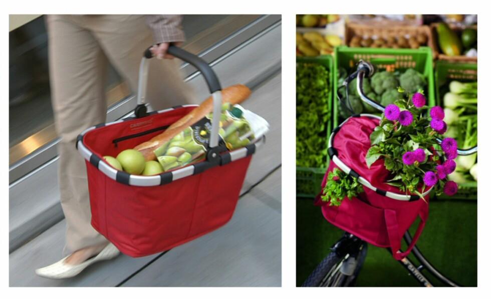 Flere smarte løsninger fra Reisenthel - handlekurven du tar med deg ut av butikken til 499 kroner, samt en kurv du kan feste på sykkelen til 699. Fra rettinett.no. Foto: Reisenthel