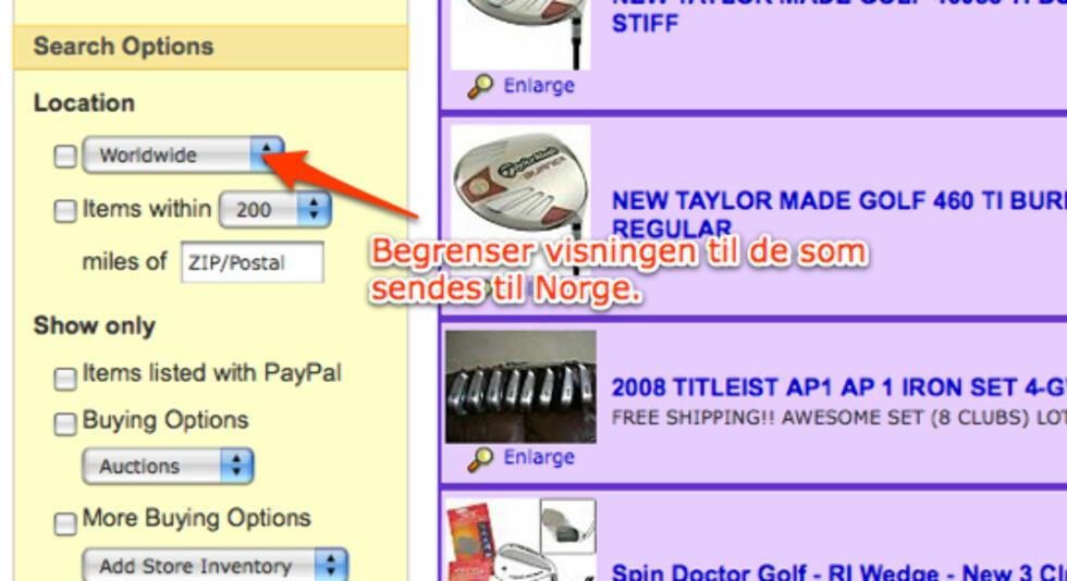 Venstre marg kan brukes for å filtrere salgsobjekter.