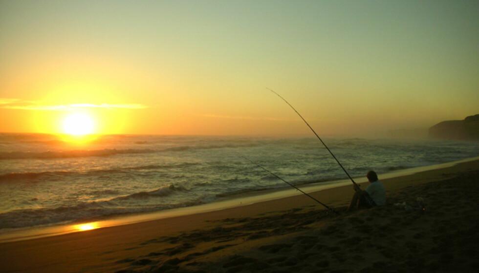 Få den perfekte slutten på dagen med en fiskestang i hånda og bølgesus i ørene til langt på natt. Foto: Anette Cvijanovic