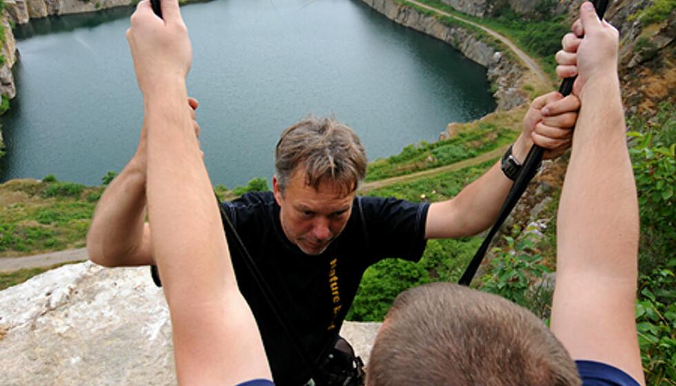 På toppen av taubanen. Uvirkelig bilde i Danmark? Foto: Hans Kristian Krogh-Hanssen