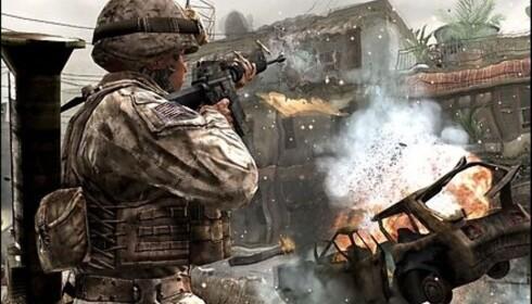 Skjermdump fra spillet Call of Duty 4. Her går det hett for seg!