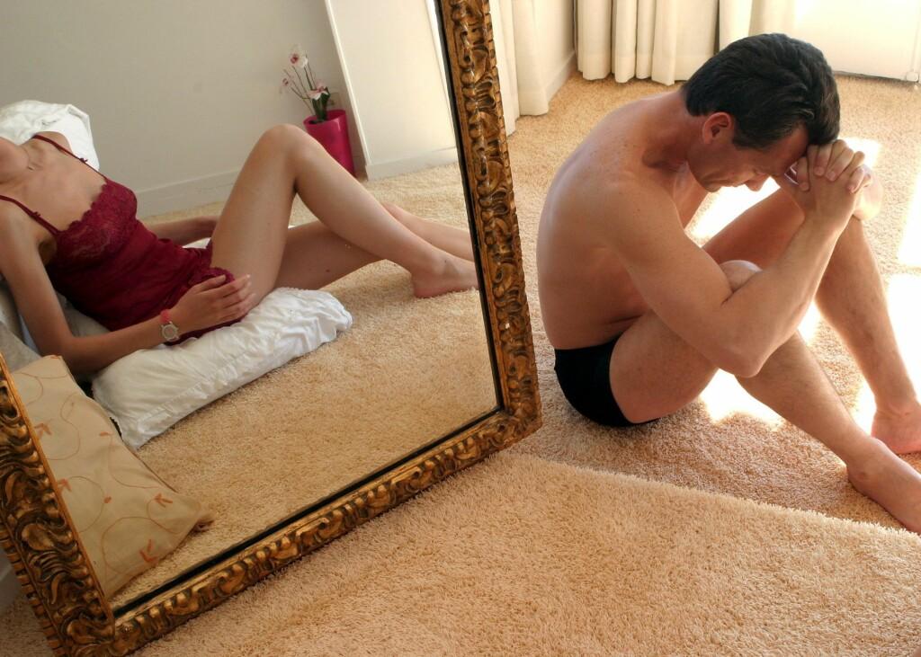 Menn som har ereksjonsproblemer, kvier seg ofte for å dra til legen. Illustrasjonsbilde: Colourbox