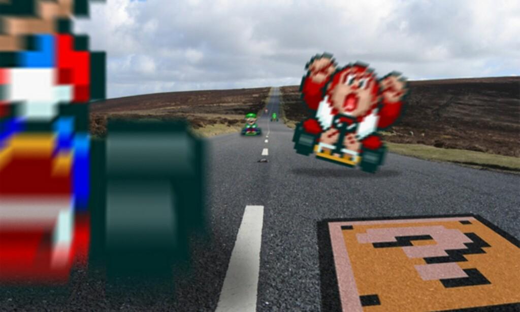 Figurene i Mario Kart tok feil i et lyskryss, og endte opp i virkeligheten. Foto: Retronoob/DeviantART