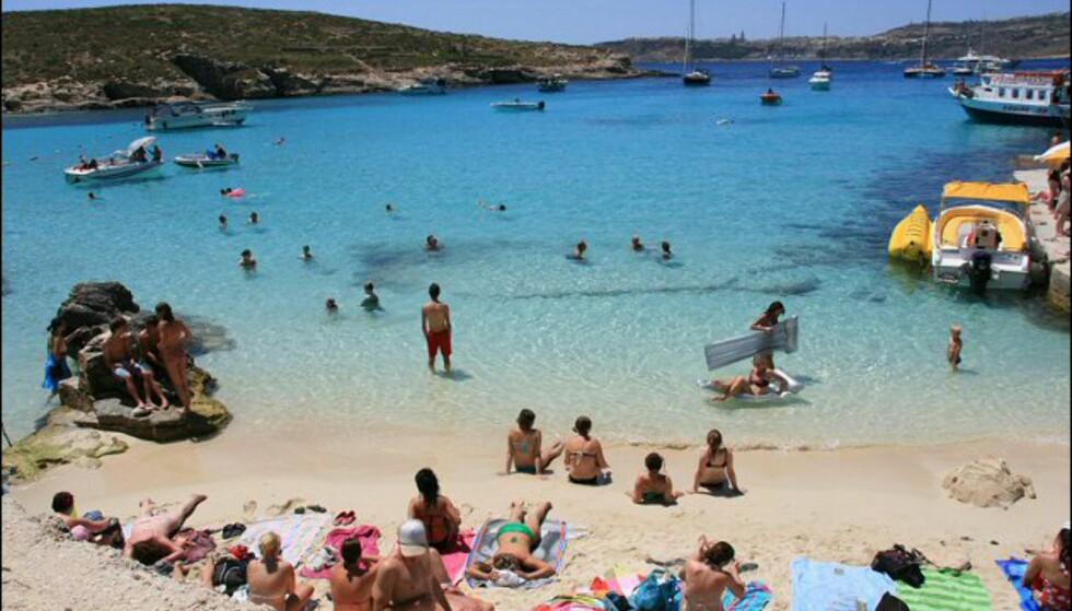 Den blå lagune er et must hvis du reiser til Malta. Foto: Marte Okkelmo
