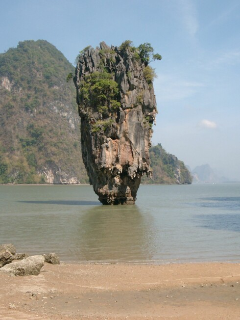 Den umiskjennelige steinpilaren ved øya som etter hvert er mest kjent som James Bond Island. Foto: Mohammed Amod Foto: Mohammed Amod