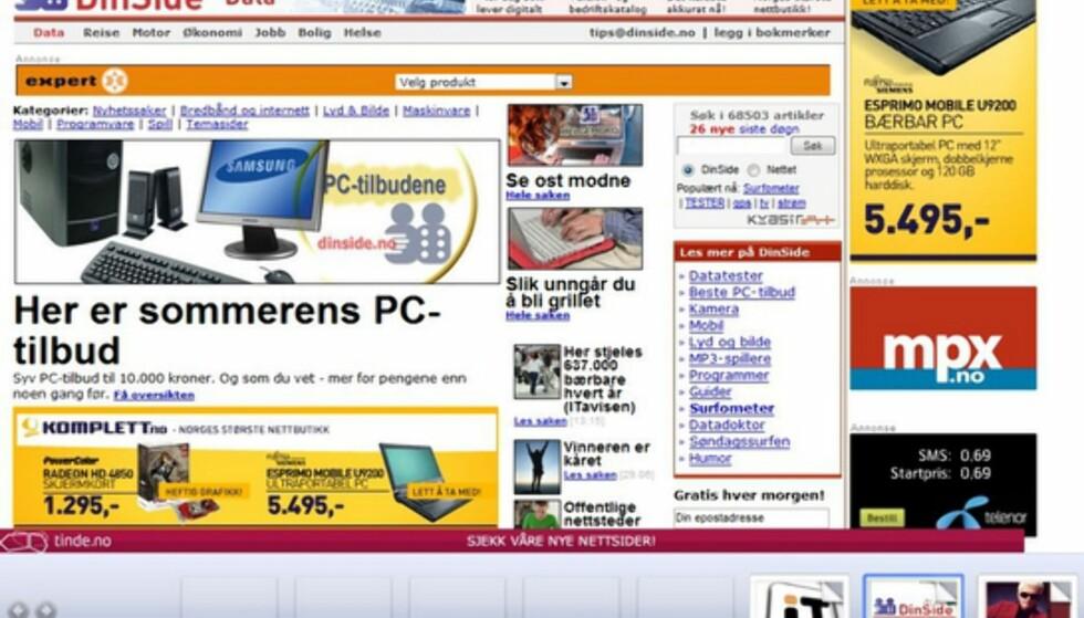 I docken (nederst) kan du selv velge hvilket bilde som skal illustrere nettsiden - som standard viser den hele.