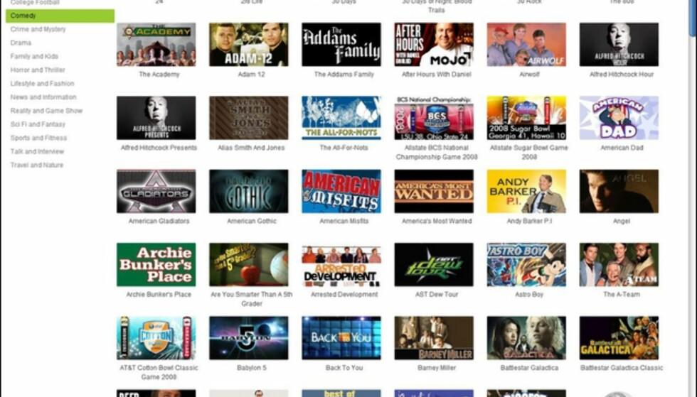 Skjermdump fra My Media Player. Dette er en brøkdel av seriene du kan se på Hulu.