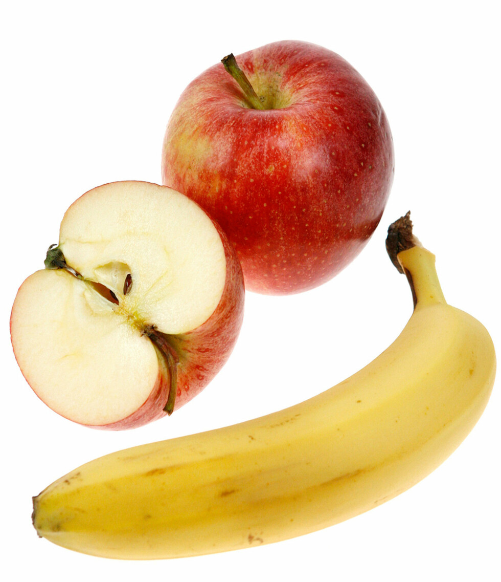 En banan og 1,5 eple.