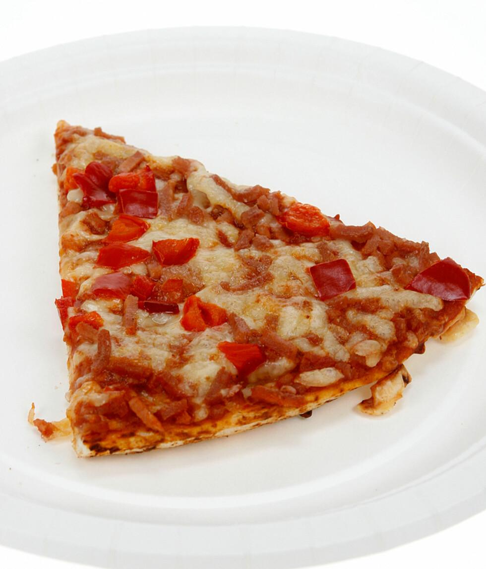 Et lite stykke pizza Grandiosa.