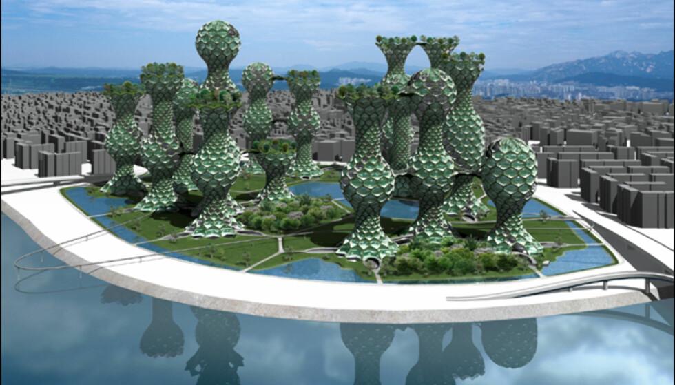 Er dette en god måte å kombinere park og høyhus? Hva enn du måtte mene om Seoul Commune 2026, er det vel ingen tvil om at en slik boligpark vil skape oppmerksomhet. Illustrasjon: Mass Studies
