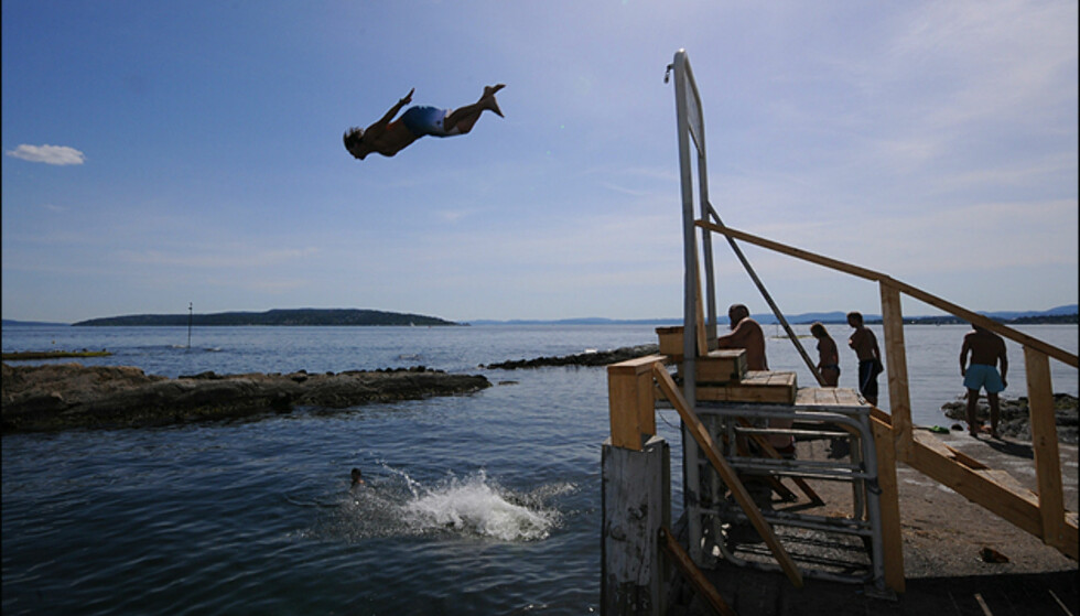 Badenymfer flyr både høyt og lavt ytterst på odden ved Huk.