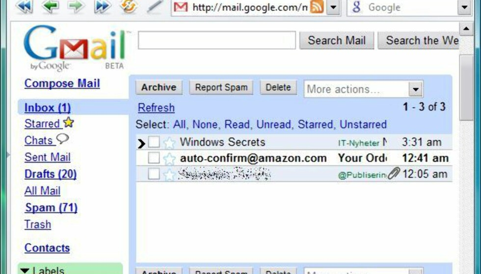 Opera + Gmail = sant