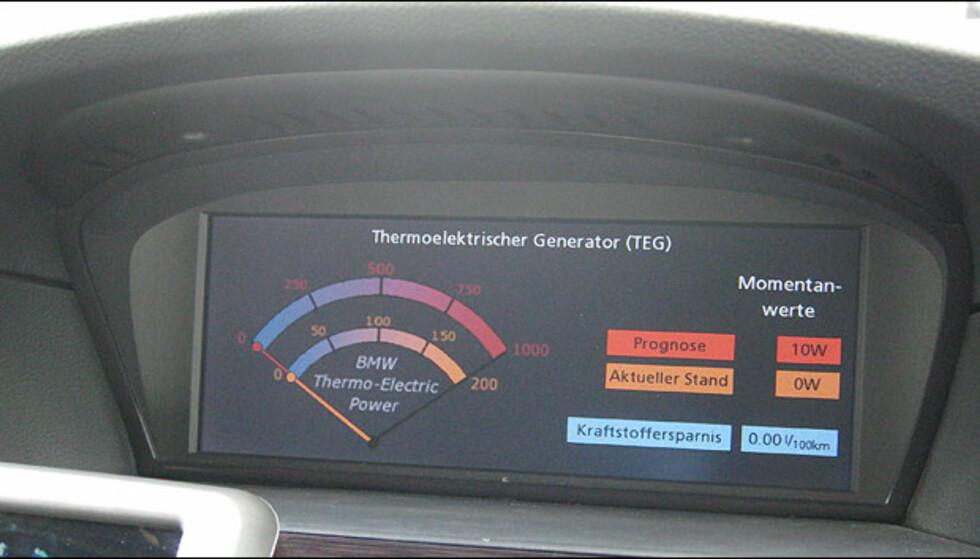 Dette skjermbildet viser effekten av den termoelektriske generatoren.