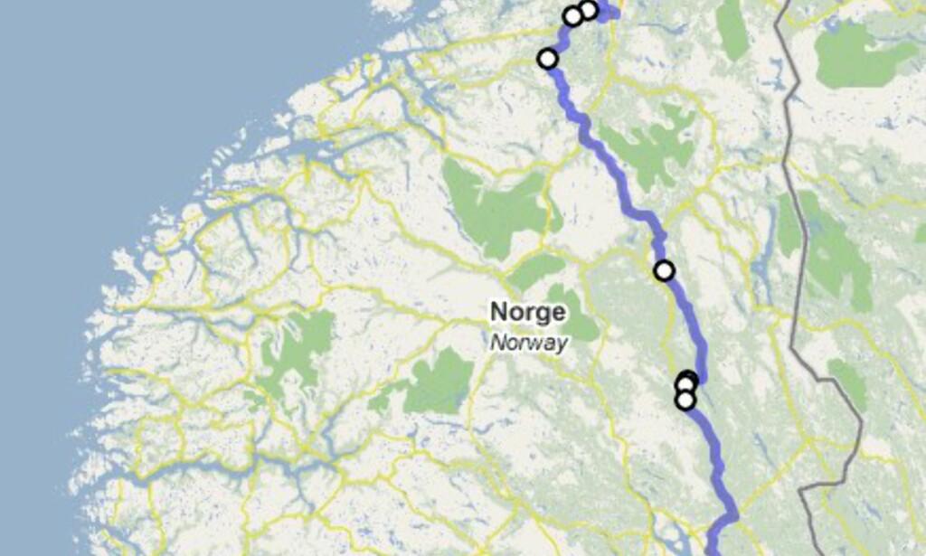 Her ser du hvor jeg har syklet så langt. Hvis du klikker her kan du studere ruten nærmere via Google Maps.