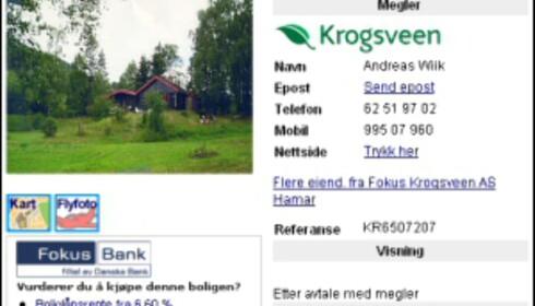 Faksimile fra Finn.no Foto: finn.no