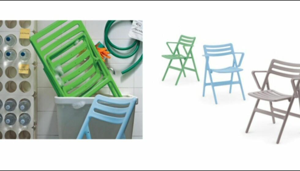 Air-serien fås også som klappstoler. Det er den britiske designeren Jasper Morrison som har designet serien for Magis. Pris: 1.069 kroner per stol fra Euklides.no. <i>Foto: Produsenten</i> Foto: magis