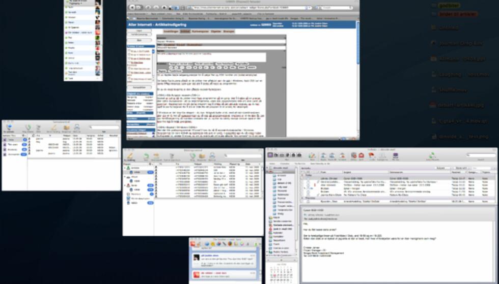 Slik ser Exposé ut i OSX.