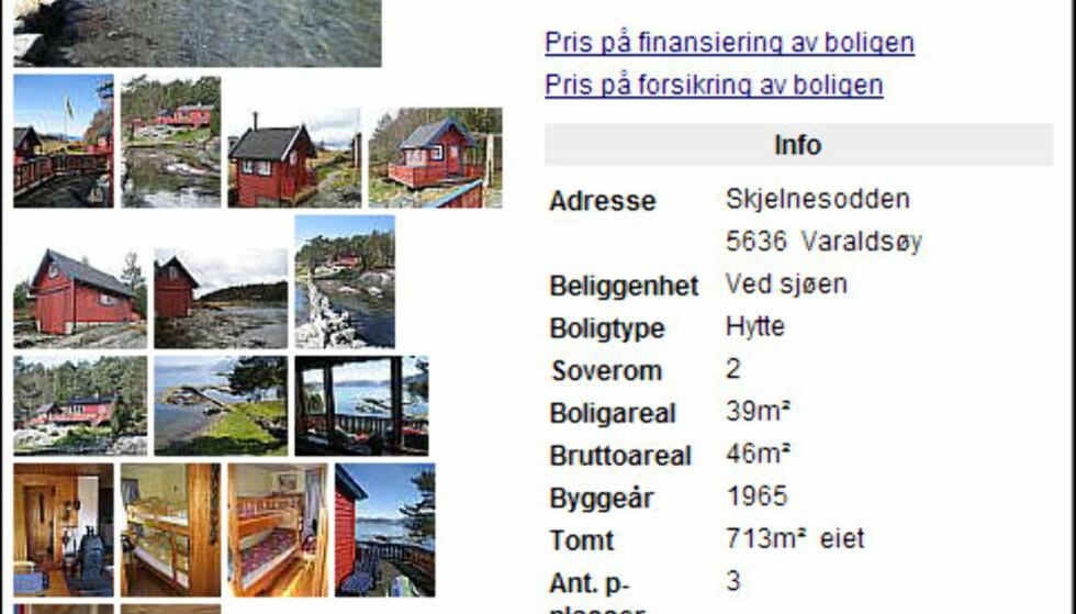 Fjordidyll ved Varaldsøy med prisantydning på 1.250.000 kroner. Med den vesle rødmalte hytta følger det med et naust. For dem som ikke er redd for å få kalde tær ligger det landgrunn strand bare noen sekunders gange fra hytta.<br /> <br /> <i>Faksimile fra Finn.no</i>
