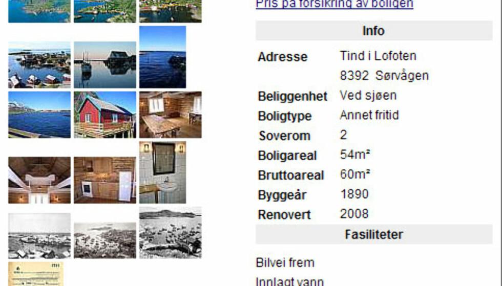 Tenk å bo i en ordentlig rorbu! I Sørvågen i Lofoten ligger denne rorbua til salgs for 1.450.000 kroner. Her kan man stikke fiskestanga ut over terrassekarmen. Rorbua er bygget i 1860 og har sengeplass oppunder taket.<br /> <br /> <i>Faksimilie fra Finn.no</i>