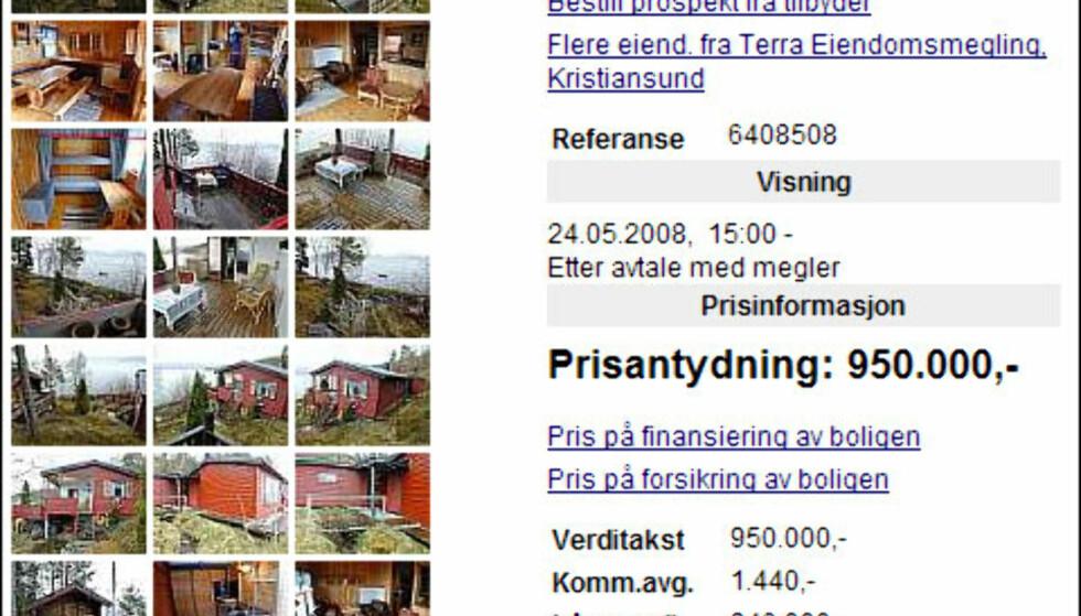 Båtplass, brygge, uthus får du for 950.000 kroner. Denne hytta ligger i Tingvoll kommune, vel 6,5 mil fra Kristiansund.<br /> <br /> <i>Faksimile fra Finn.no</i>