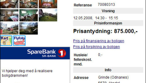 Ved Grinde i Aksdal i Rogaland fylke får du hytte rett ved sjøen til 875.000 kroner.<br /> <br /> <i>Faksimile fra Finn.no</i>