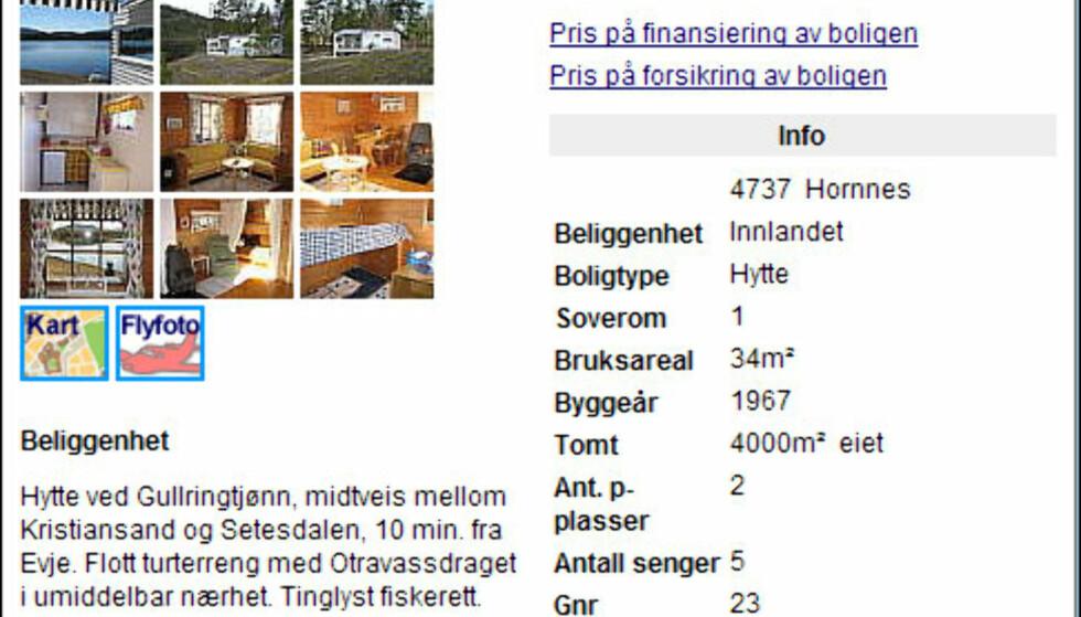 Minihytte med fire mål eiet tomt, strandlinje med svaberg, fiskerett og jolle på Hornnes ikke langt fra Kristiansand. Hele herligheten har en prisantydning på 590.000 kroner.<br /> <i>Faksimile fra Finn.no</i>
