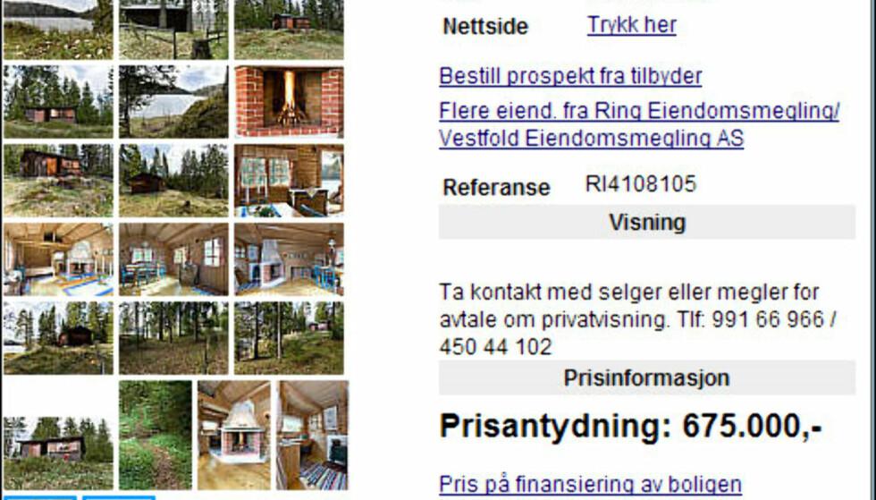 Hytte med strandlinje langs Askjemvannet to kilometer fra Andebu i Vestfold.<br /> <br /> <i>Faksimile fra Finn.no</i>