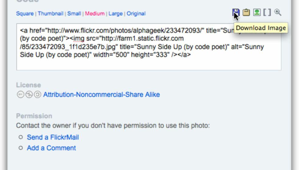 Flickr allsizes+ gir deg kjapp tilgang til embedding, nedlasting etc.