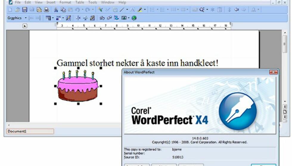 Klikk på bildet for å se flere skjermbilder fra WordPerfect Office X4