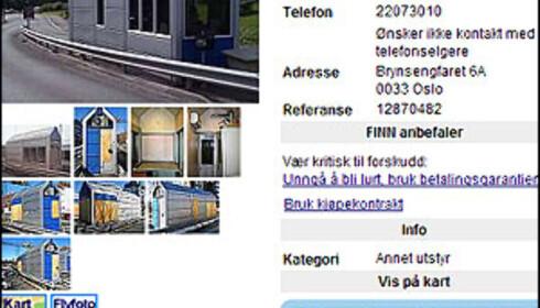 Her er et eksempel på avgiftsboksen som er lagt ut for salg.  Faksimile fra Finn.no