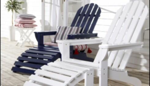 De adirondack-inspirerte stolene Newport fra Ellos passer perfekt til deg som liker New England-stilen. Pris: 700 kr. <i>Foto: Ellos</i><br /> <br />