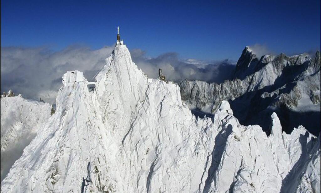 På Europas tak. Utsikt mot Mont Blanc, 4.810 meter over havet. Foto: Office de Turisme de Chamonix