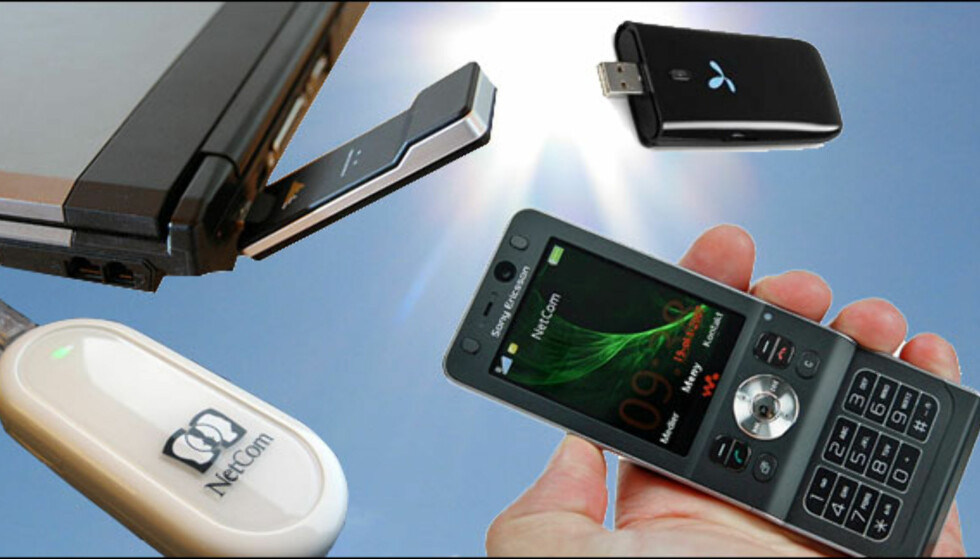 Aktuelt utstyr for å koble deg til mobilt bredbånd: Bærbar PC sammen med USB-modem eller mobiltelefenonen