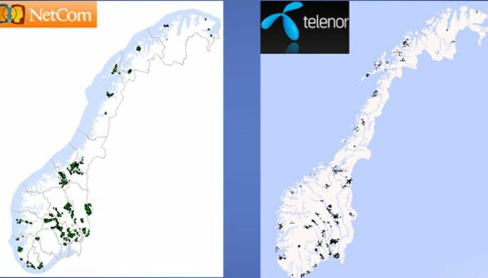 Netcom har dekning på følgende vintersportssteder: Trysil, Sjusjøen, Lillehammer, Øyer/Hafjell, Ringebu/Kvitfjell, Fagernes, Skeikampen, Beitostølen, Bykle, Sirdal, Meldal, Oppdal, Sigdal, Nore og Uvdal/Norefjell, Modum, Krødsherad, Gol, Hemsedal, Ål, Hol, Hemsedal, Nes. I tillegg har Netcom dekning i byene Oslo, Trondheim, Bergen, Trondheim, Tromsø, Drammen, Kristiansand, Hammerfest, Bodø, Haugesund, Mandal, Stjørdal, Harstad.      Telenor har dekning i byene Bergen, Oslo, Stavanger, Sandnes, Trondheim, Sarpsborg og Fredrikstad, Porsgrunn og Skien, Drammen, Kristiansand, Tromsø, Tønsberg og Borre, samt vintersportsstedene Blefjell, Skeikampen, Geilo, Sjusjøen, Norefjell, Gålå, Voss, Hafjell, Gol, Hemsedal, Trysil, Hovden, Lifjell, Valdres, Oppdal, Beitostølen og Kvitfjell.    Oppdaterte dekningskart finner du ved å klikke her: ICE, Telenor og Netcom.