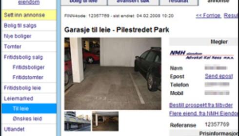 Garasjeplass sentralt i Oslo til leie for 1.400 kroner i måneden. Faksimile: Finn.no