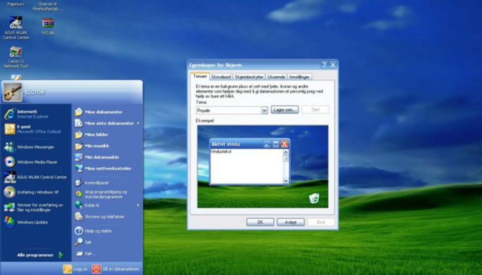 Windows Royale-temaet er hentet fra Windows XP Media Center Edition.