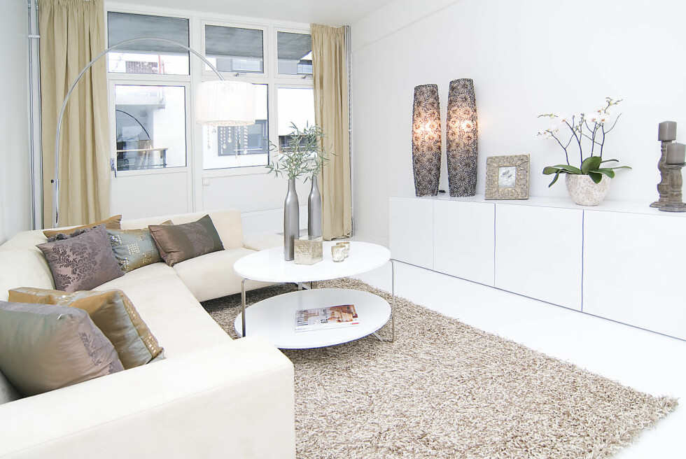 Stue innredet av Hilde Josdal og Therese Knutsen i Interior Deal AS. Foto: Foto: Garanti Eiendomsmegling
