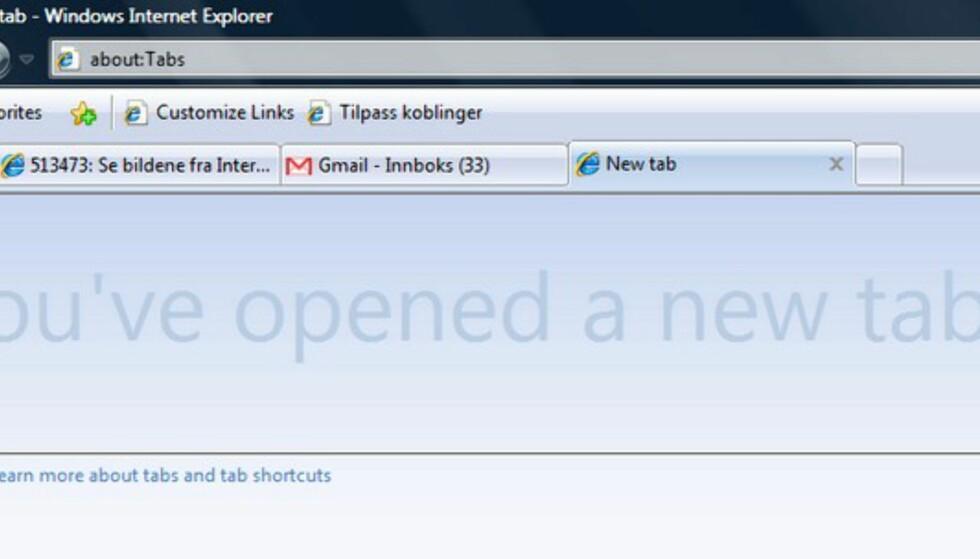 Se bildene fra Internet Explorer 8