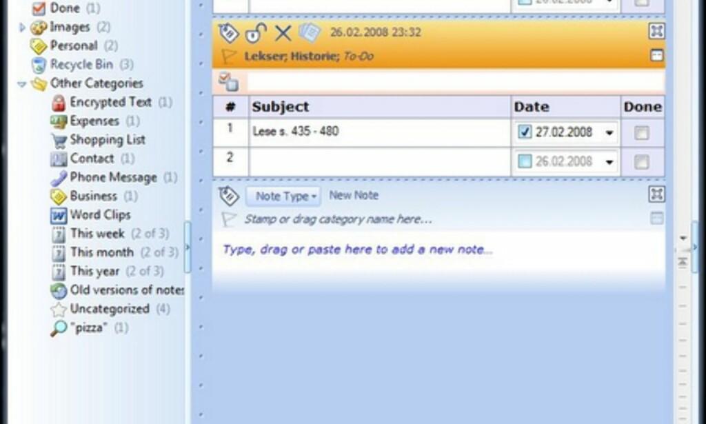 Du kan krysskategorisere notater til flere kategorier og lage underkategorier.