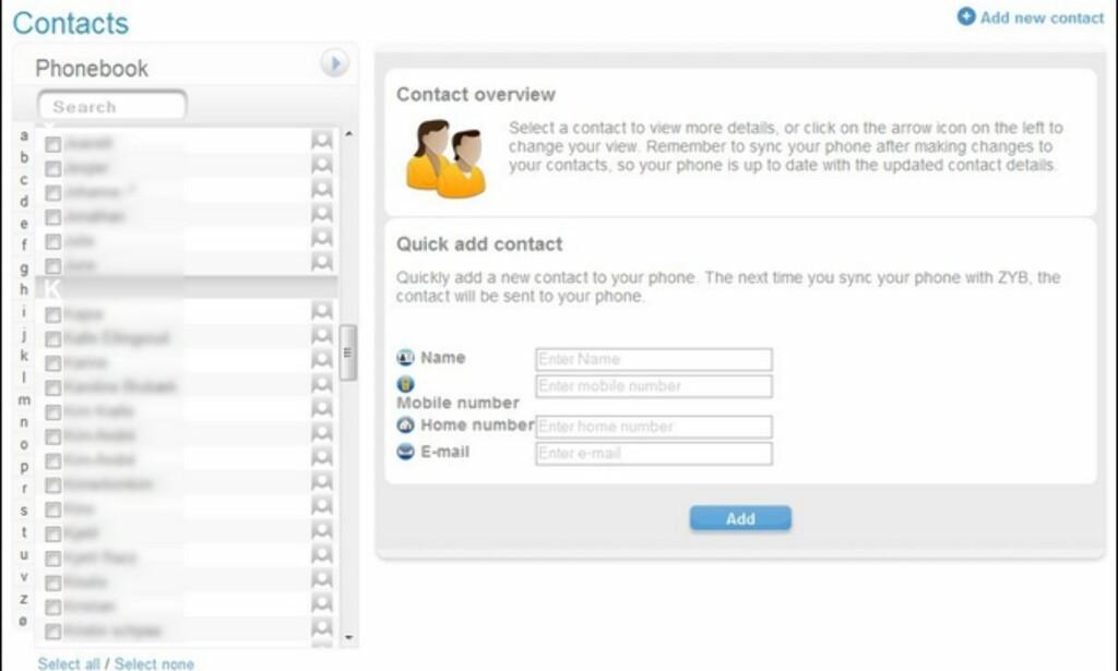 Det er lettere å administere kontakene med et fullt QWERTY-tastatur.