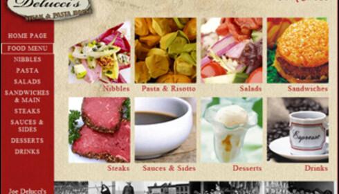 Menyen på den italienske restauranten er ikke like frekk som regningen.  Faksimile: Joedeluccis.com