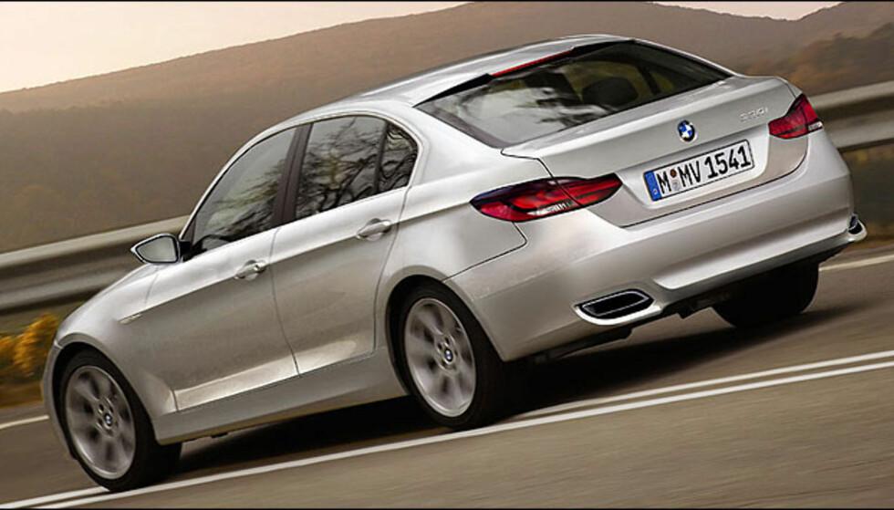 BMW 3-serie bakfra. Bildet er manipulert.